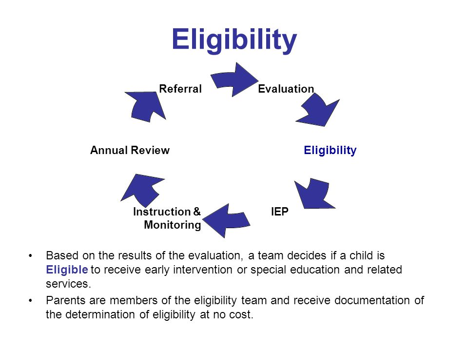 Eligibility Based on the results of the evaluation, a team decides if a child is Eligible to receive early intervention or special education and relat
