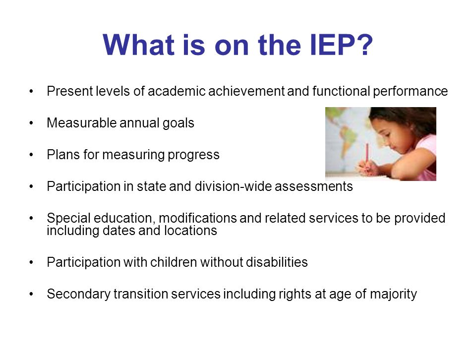 What is on the IEP? Present levels of academic achievement and functional performance Measurable annual goals Plans for measuring progress Participati