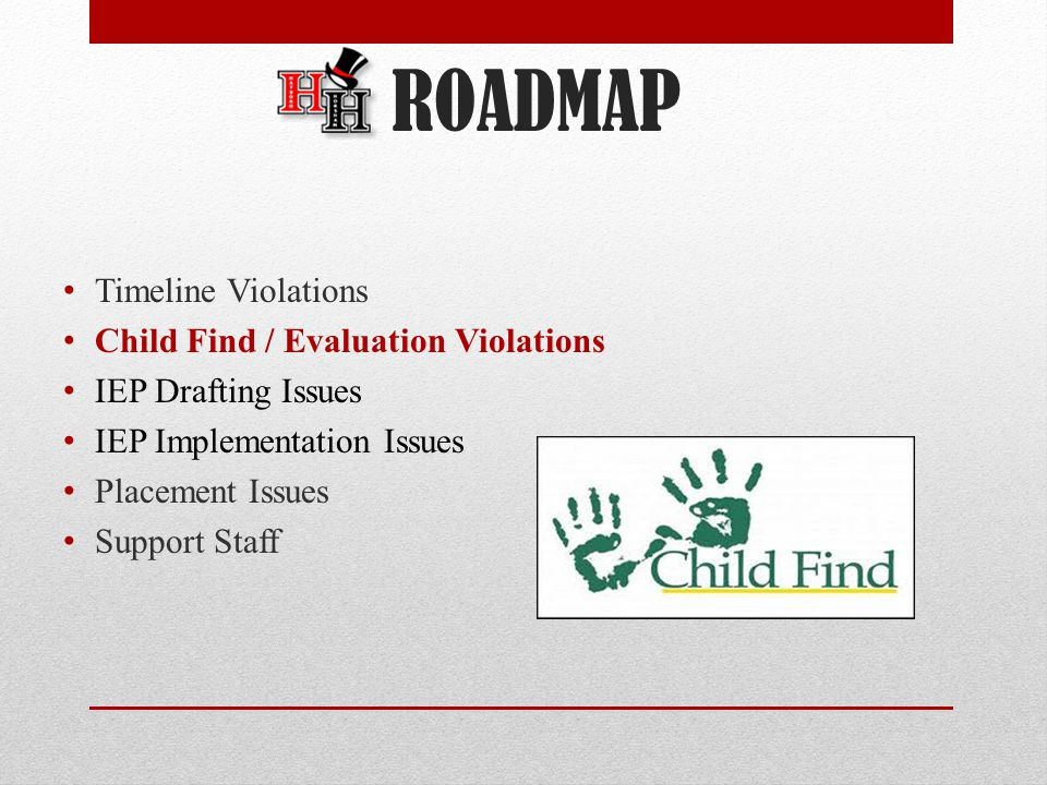 Timeline Violations Child Find / Evaluation Violations IEP Drafting Issues IEP Implementation Issues Placement Issues Support Staff ROADMAP