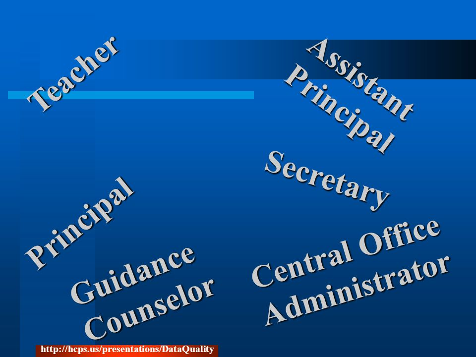 Central Office Administrator Teacher Secretary Assistant Principal Principal GuidanceCounselor