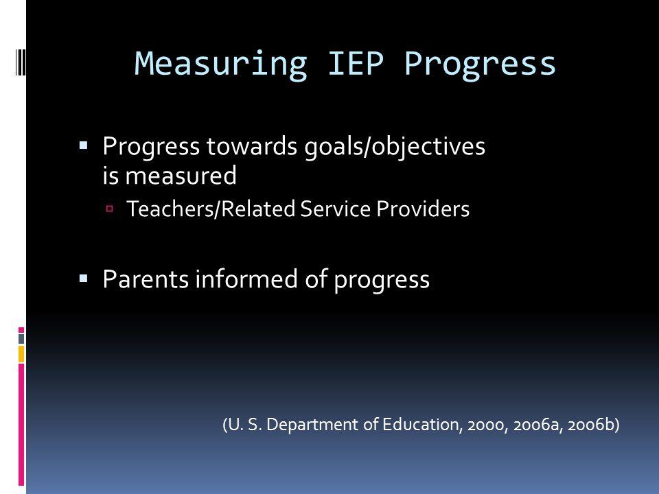 Measuring IEP Progress  Progress towards goals/objectives is measured  Teachers/Related Service Providers  Parents informed of progress (U.