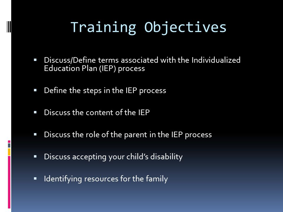 Review of the IEP  At least once per year  May be revised as needed  IEP meeting  IEP team in attendance  Update IEP  To meet current needs of student  Academic/functional performance levels  Goals/Objectives (U.