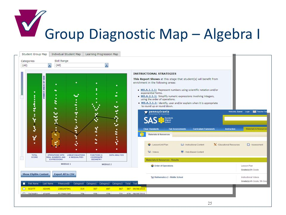Group Diagnostic Map – Algebra I 25