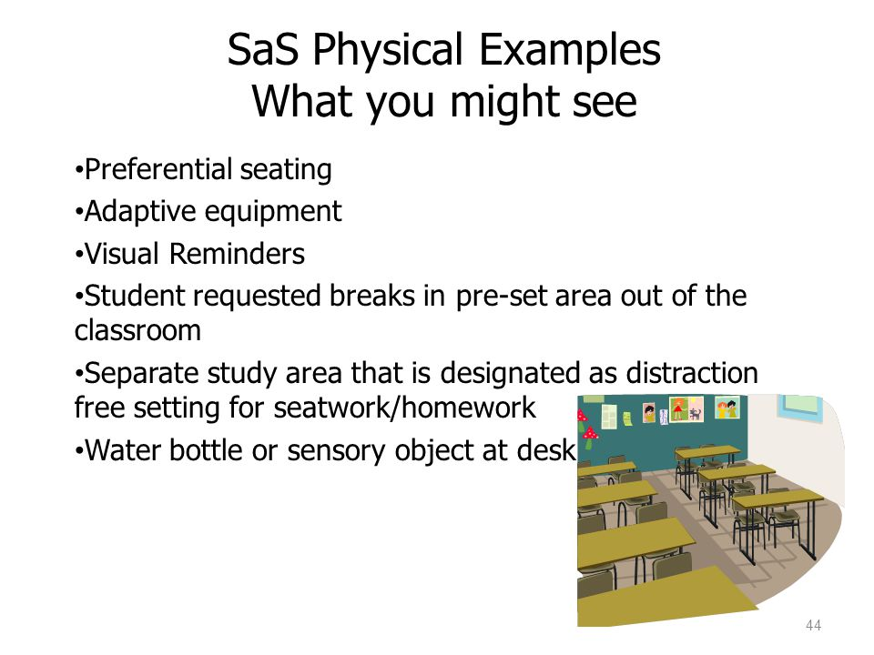 44 Preferential seating Adaptive equipment Visual Reminders Student requested breaks in pre-set area out of the classroom Separate study area that is