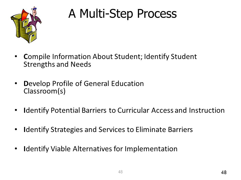 48 48 Compile Information About Student; Identify Student Strengths and Needs Develop Profile of General Education Classroom(s) Identify Potential Bar