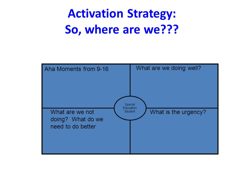 Activation Strategy: So, where are we??? Aha Moments from 9-16 Special Education Student What are we doing well? What are we not doing? What do we nee