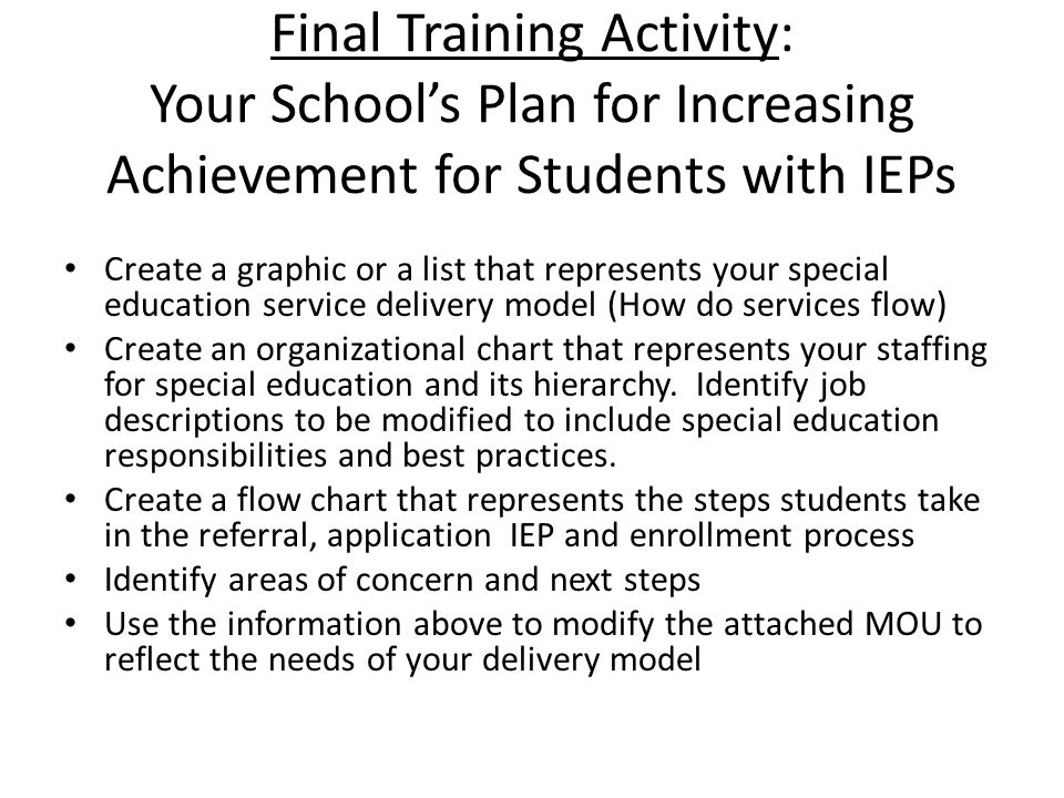 Final Training Activity: Your School's Plan for Increasing Achievement for Students with IEPs Create a graphic or a list that represents your special