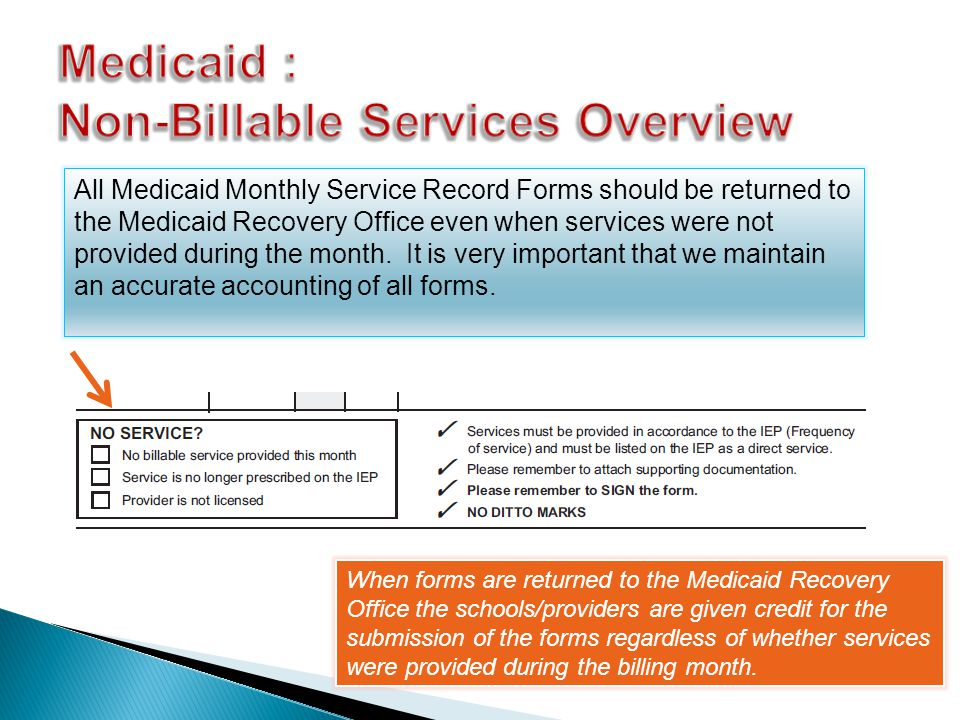 All Medicaid Monthly Service Record Forms should be returned to the Medicaid Recovery Office even when services were not provided during the month.