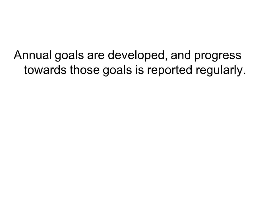 Annual goals are developed, and progress towards those goals is reported regularly.