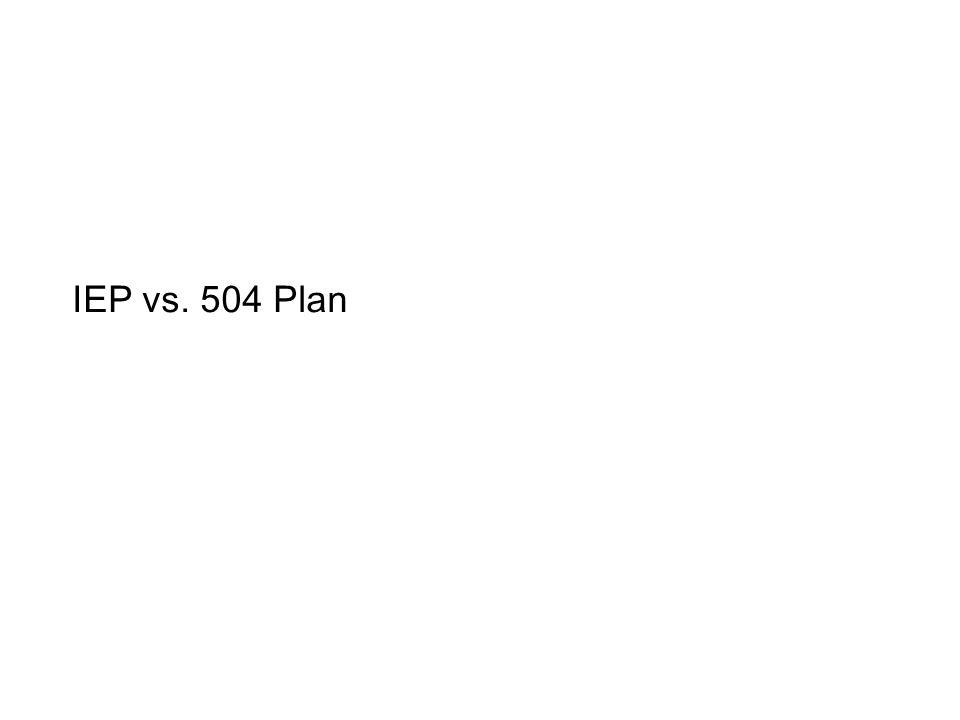 IEP vs. 504 Plan