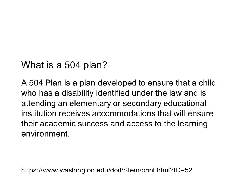 What is a 504 plan.