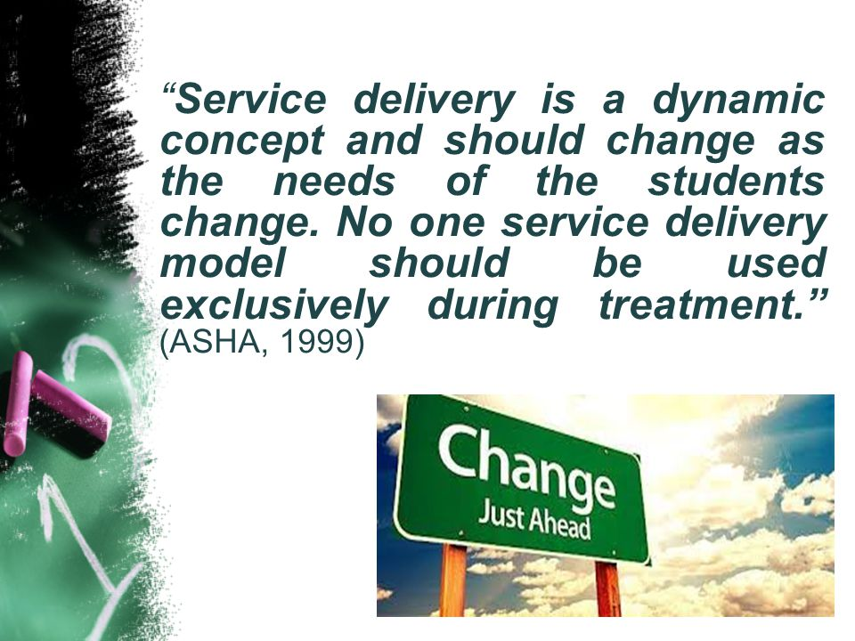 """""""Service delivery is a dynamic concept and should change as the needs of the students change. No one service delivery model should be used exclusively"""