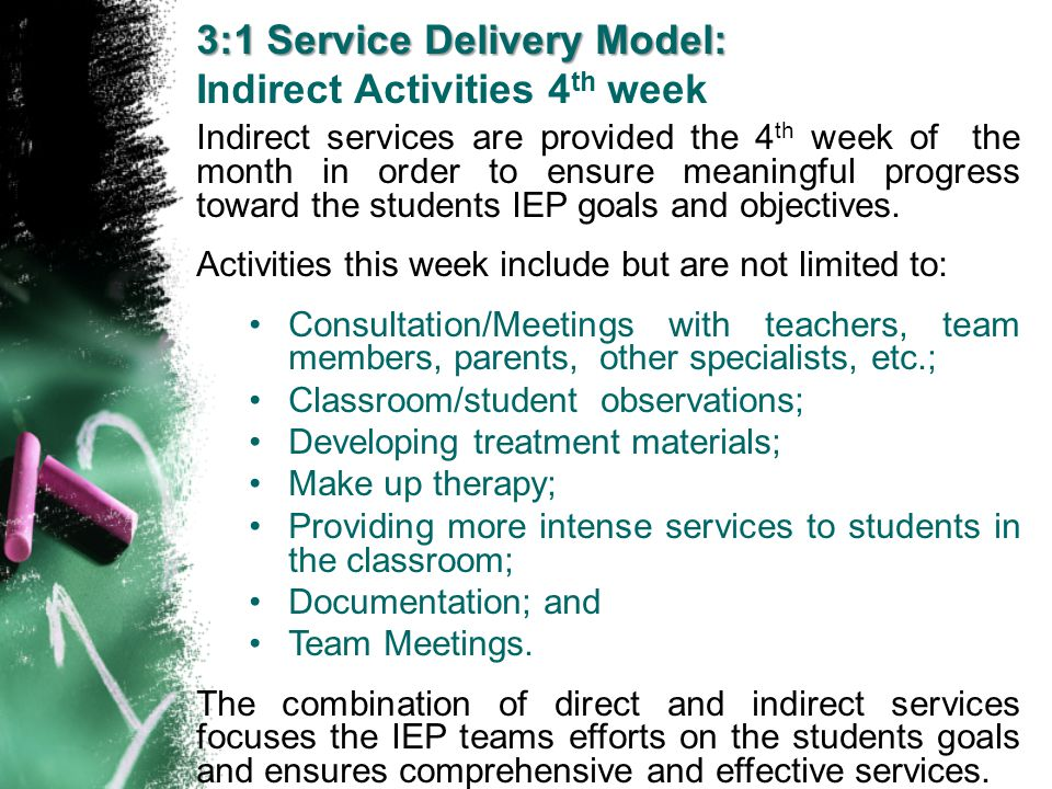 Indirect services are provided the 4 th week of the month in order to ensure meaningful progress toward the students IEP goals and objectives. Activit