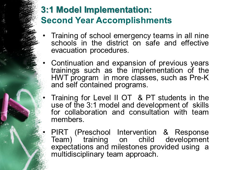 Training of school emergency teams in all nine schools in the district on safe and effective evacuation procedures. Continuation and expansion of prev