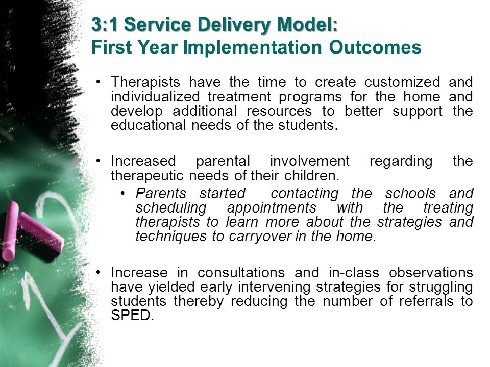 3:1 Service Delivery Model: First Year Implementation Outcomes Therapists have the time to create customized and individualized treatment programs for