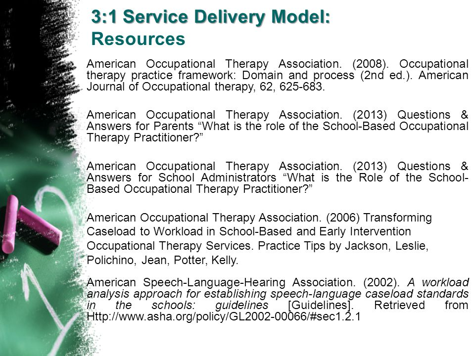 Resources American Occupational Therapy Association. (2008). Occupational therapy practice framework: Domain and process (2nd ed.). American Journal o