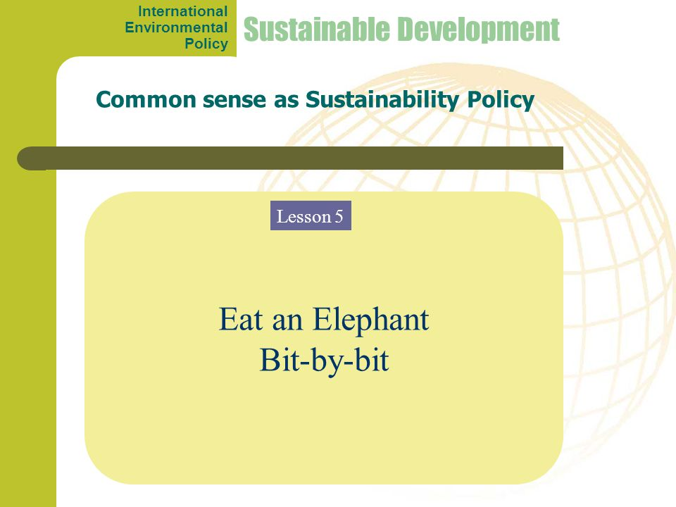 Eat an Elephant Bit-by-bit Common sense as Sustainability Policy Sustainable Development Lesson 5 International Environmental Policy
