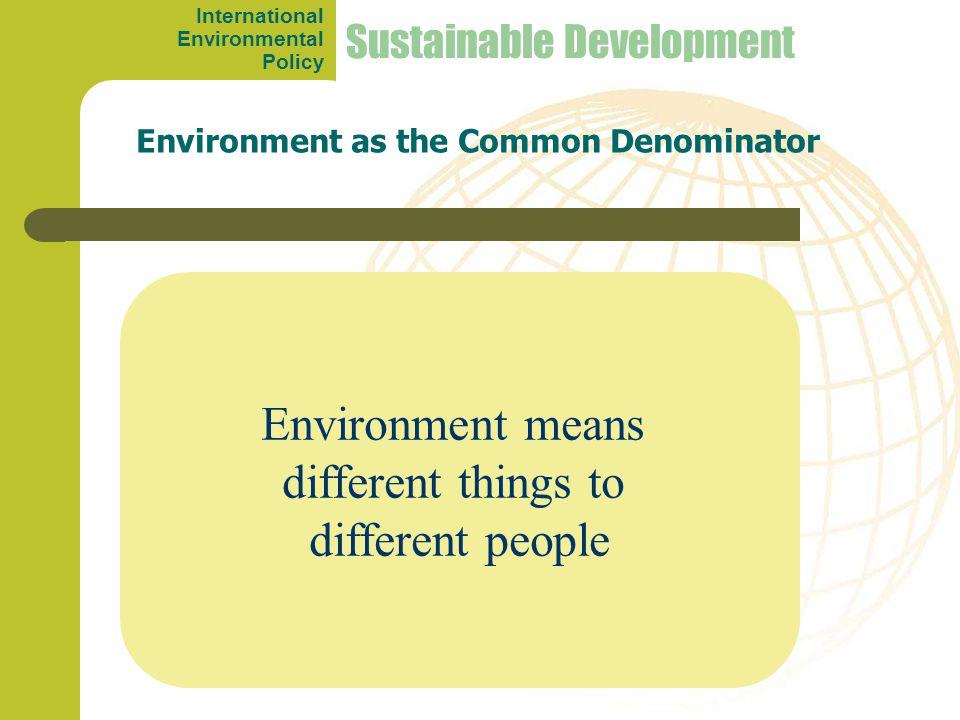 Sustainable Development Environment means different things to different people Environment as the Common Denominator International Environmental Policy