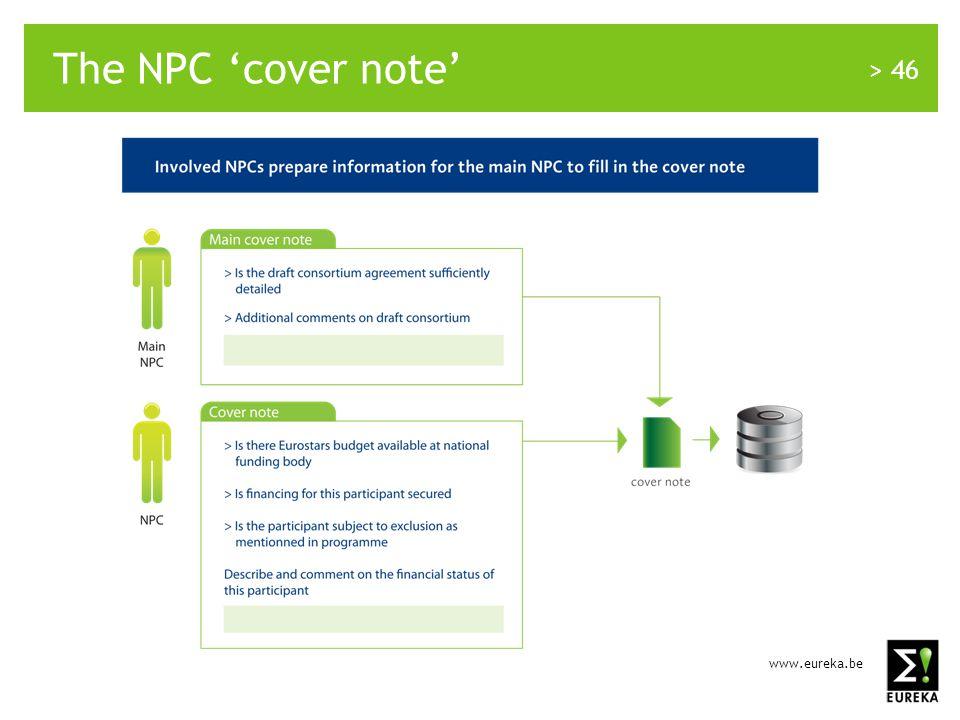 www.eureka.be > 46 The NPC 'cover note'