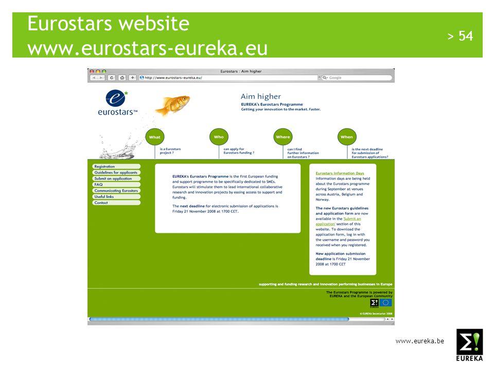 www.eureka.be > 54 Eurostars website www.eurostars-eureka.eu