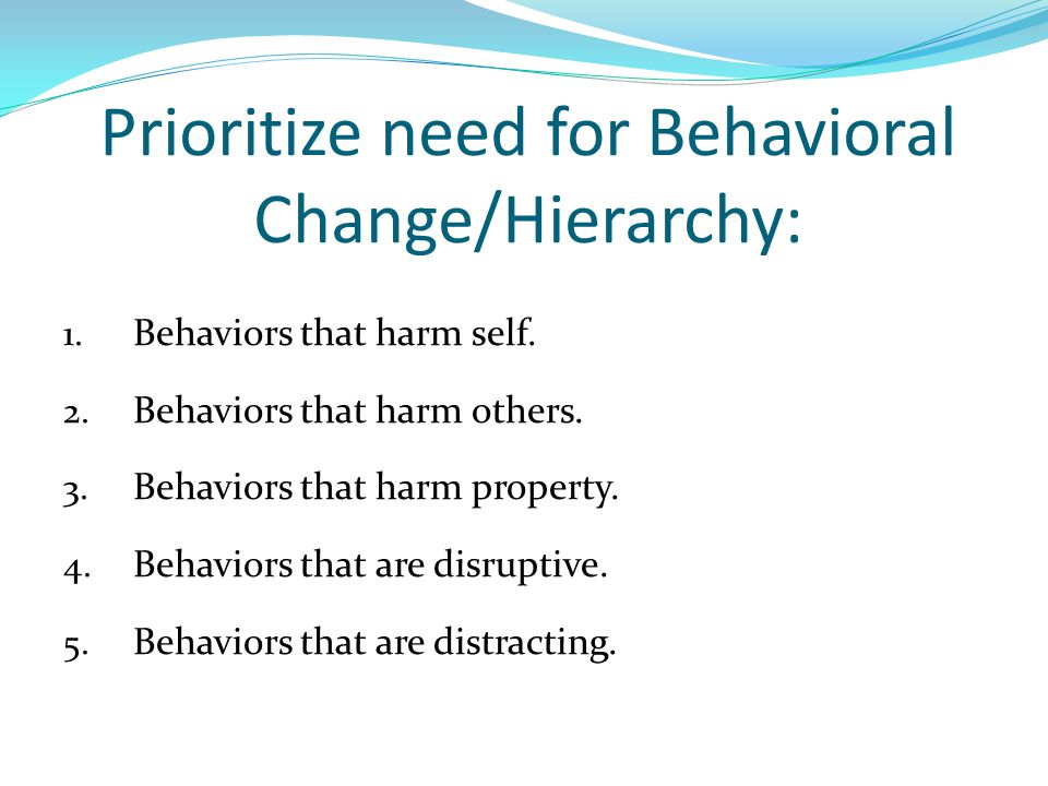 Prioritize need for Behavioral Change/Hierarchy: 1.