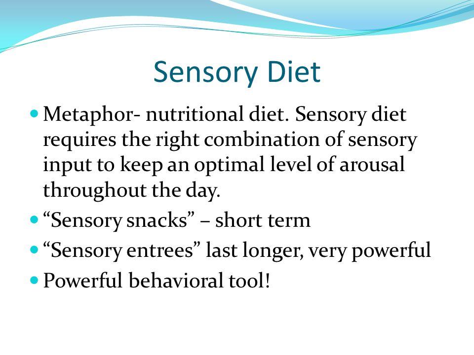 Sensory Diet Metaphor- nutritional diet.