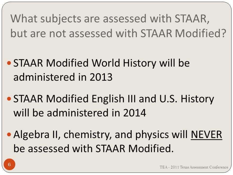 What subjects are assessed with STAAR, but are not assessed with STAAR Modified.