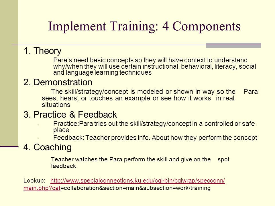 Implement Training: 4 Components 1. Theory Para's need basic concepts so they will have context to understand why/when they will use certain instructi