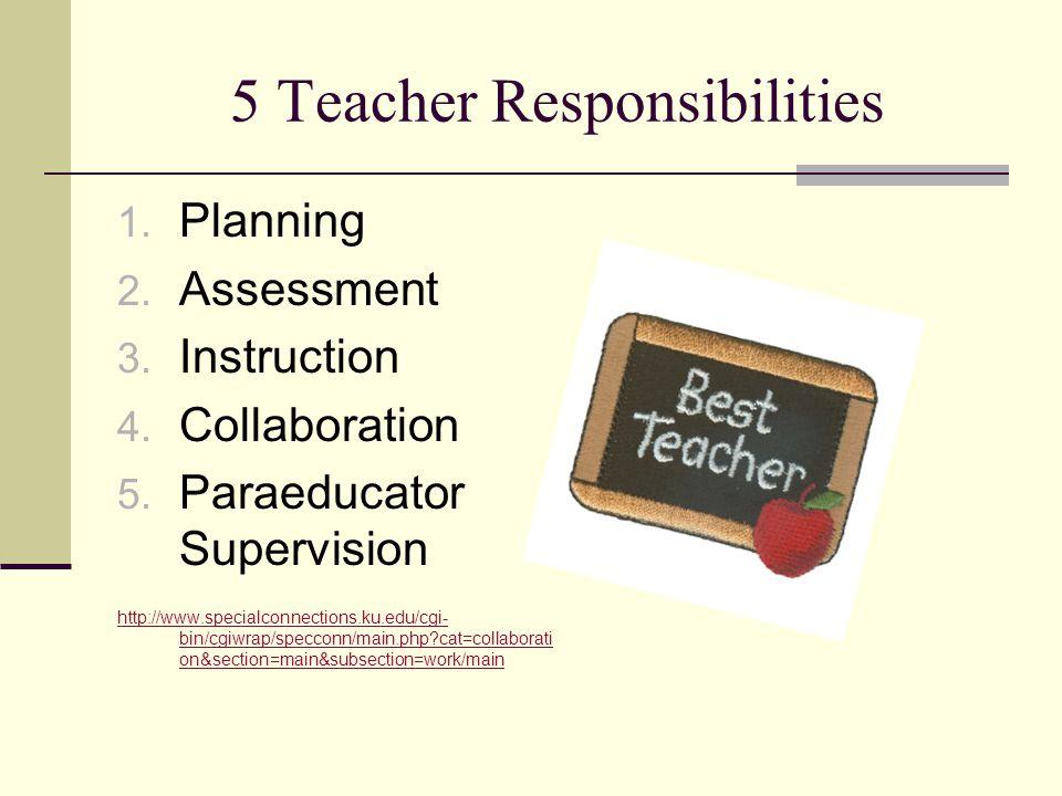 5 Teacher Responsibilities 1. Planning 2. Assessment 3. Instruction 4. Collaboration 5. Paraeducator Supervision http://www.specialconnections.ku.edu/
