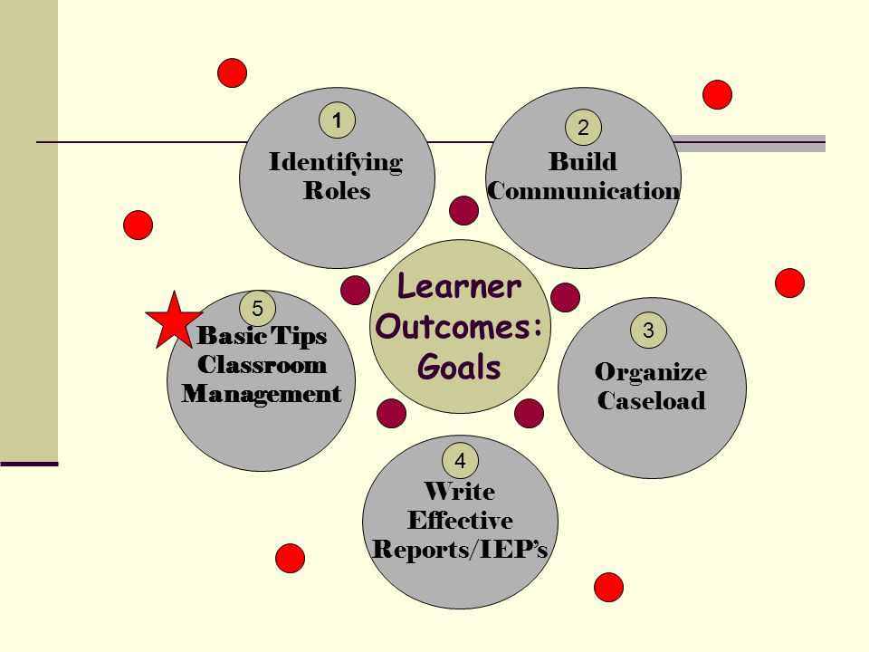 Learner Outcomes: Goals Build Communication Organize Caseload Identifying Roles Basic Tips Classroom Management Write Effective Reports/IEP's 2 1 3 4