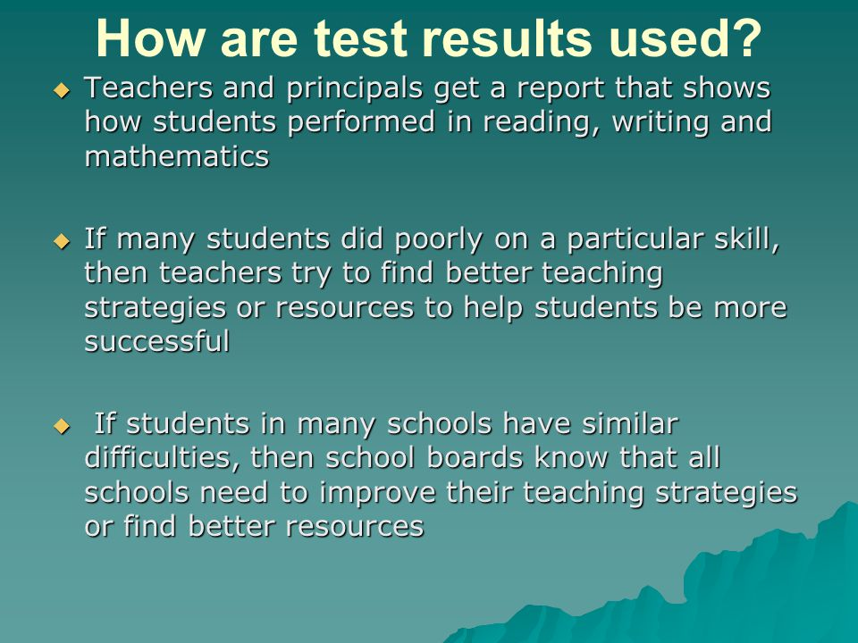 How are test results used.