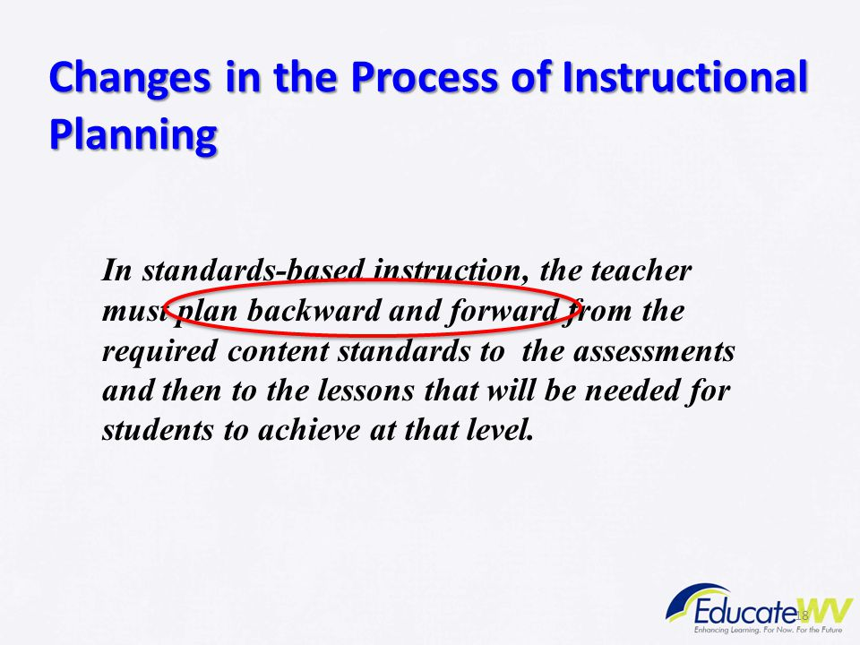 18 Changes in the Process of Instructional Planning In standards-based instruction, the teacher must plan backward and forward from the required conte