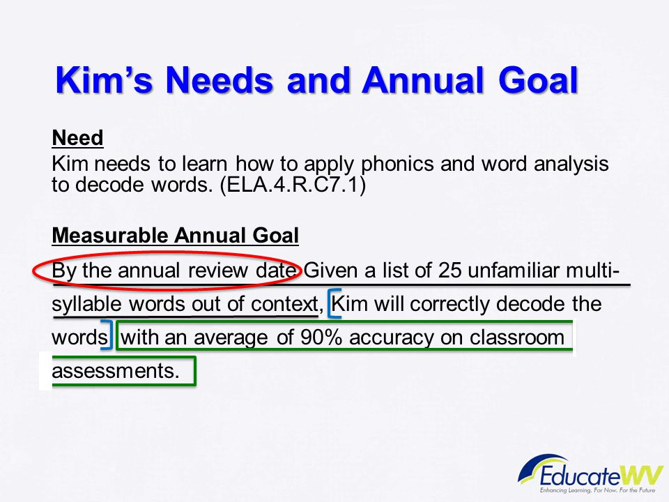 Kim's Needs and Annual Goal Need Kim needs to learn how to apply phonics and word analysis to decode words. (ELA.4.R.C7.1) Measurable Annual Goal By t