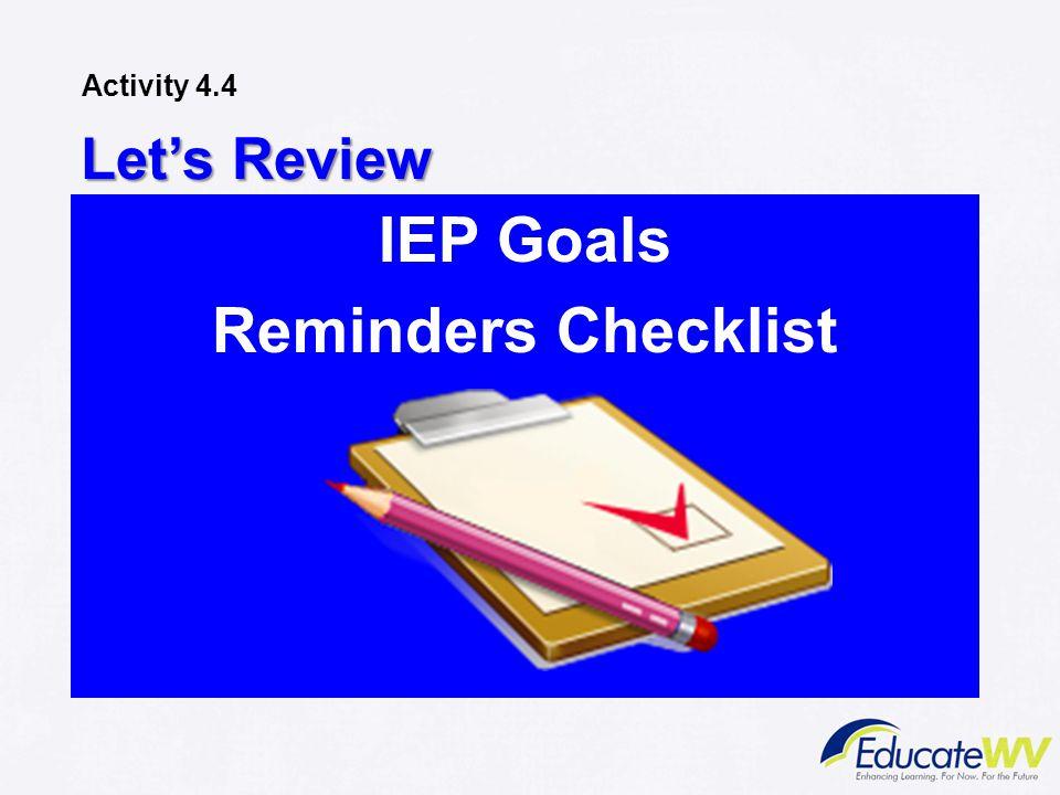 Let's Review IEP Goals Reminders Checklist Activity 4.4