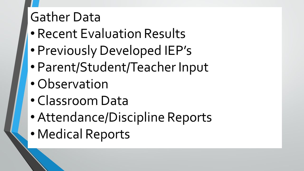 Steps to IEP Development Gather Data Recent Evaluation Results Previously Developed IEP's Parent/Student/Teacher Input Observation Classroom Data Atte
