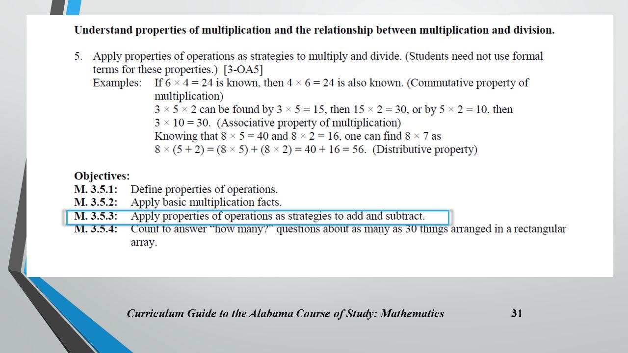 Curriculum Guide to the Alabama Course of Study: Mathematics 31