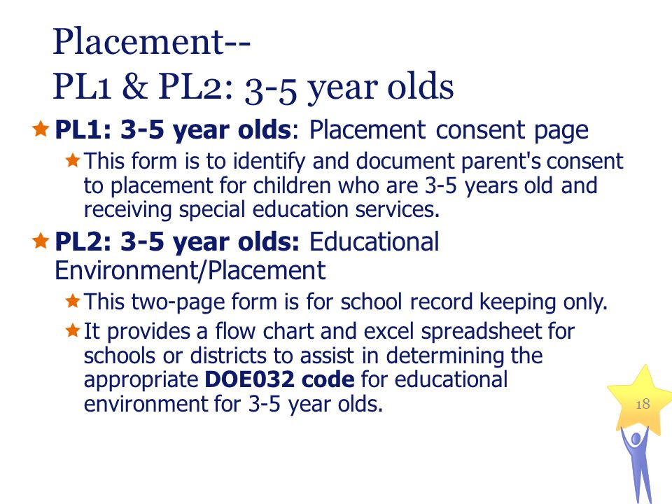 Placement-- PL1 & PL2: 3-5 year olds  PL1: 3-5 year olds: Placement consent page  This form is to identify and document parent s consent to placement for children who are 3-5 years old and receiving special education services.