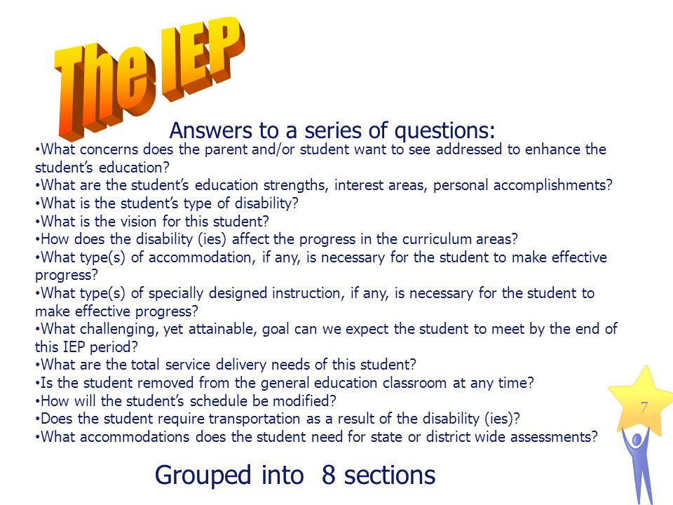 IEP 1 IEP 2 IEP 3 IEP 4 IEP 5 IEP 6 IEP 7 Description of the student Present Levels of Educational Performance A: General Curriculum Present Levels of Educational Performance B: Other Educational Needs Goal(s) for the year Service Grid Special considerations (transportation, school year/day) Accommodations for system and state testing IEP 8 Additional information and Parent Response 8