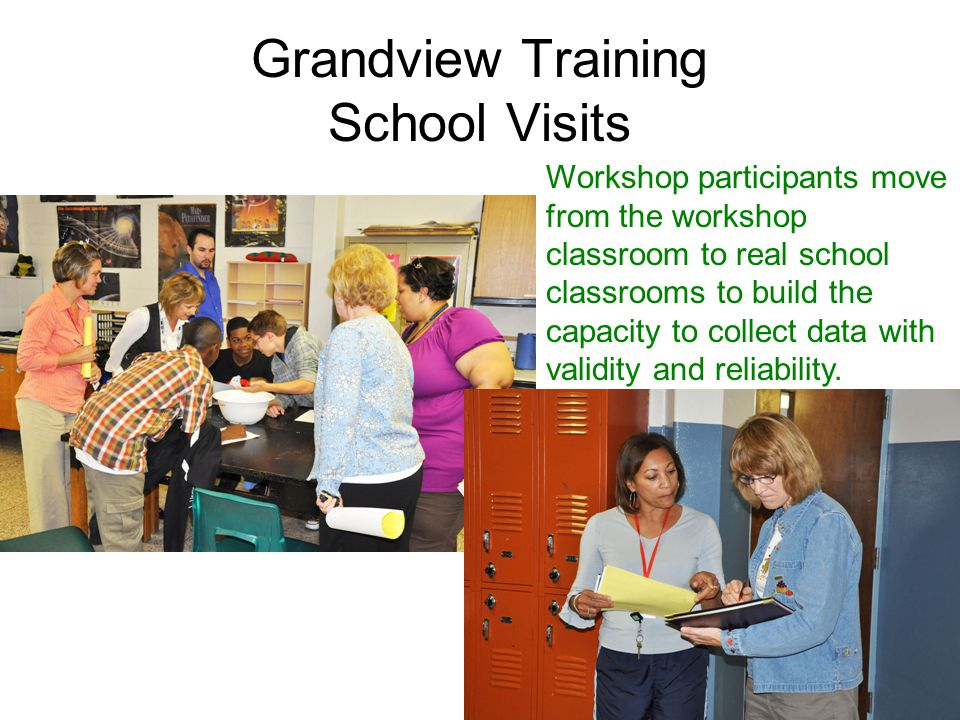 Grandview Training School Visits Workshop participants move from the workshop classroom to real school classrooms to build the capacity to collect data with validity and reliability.
