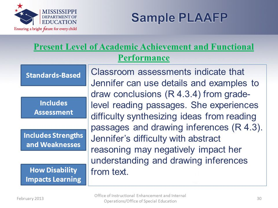Classroom assessments indicate that Jennifer can use details and examples to draw conclusions (R 4.3.4) from grade- level reading passages.