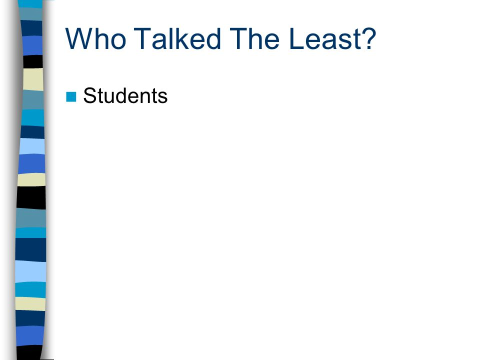 Who Talked The Least? Students