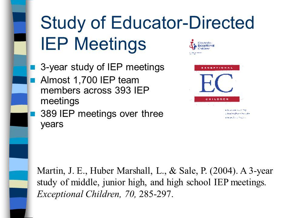Study of Educator-Directed IEP Meetings 3-year study of IEP meetings Almost 1,700 IEP team members across 393 IEP meetings 389 IEP meetings over three