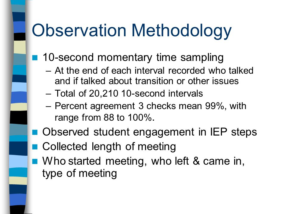Observation Methodology 10-second momentary time sampling –At the end of each interval recorded who talked and if talked about transition or other iss