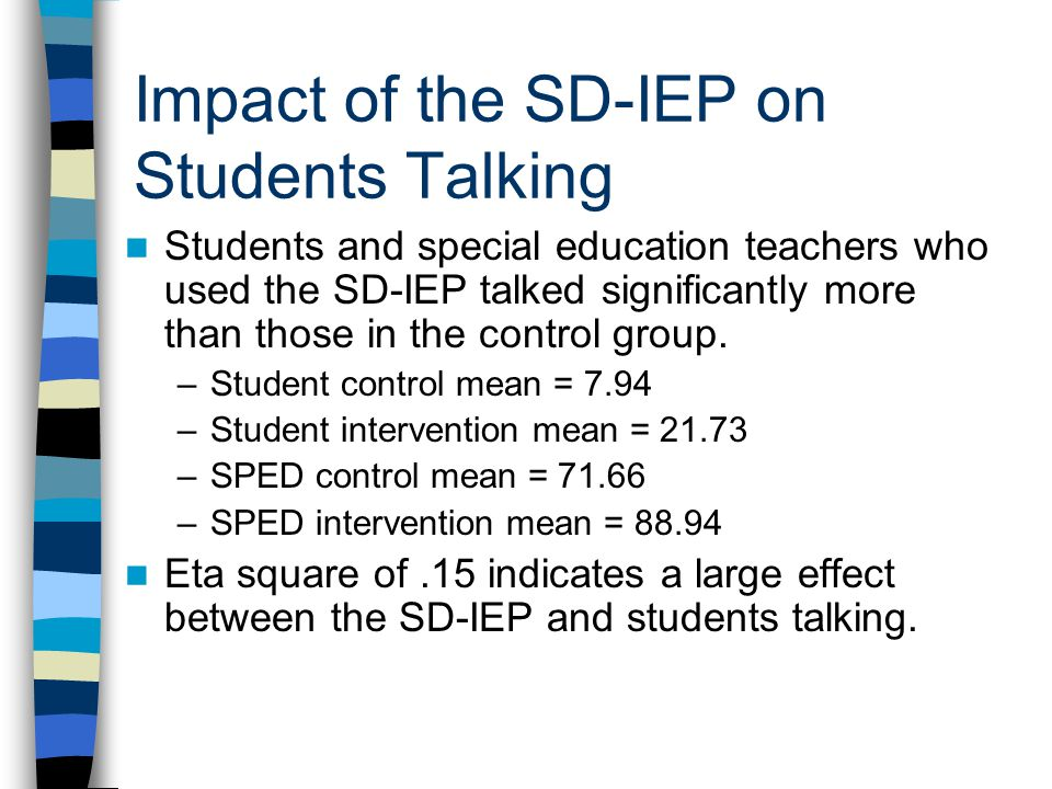 Impact of the SD-IEP on Students Talking Students and special education teachers who used the SD-IEP talked significantly more than those in the contr