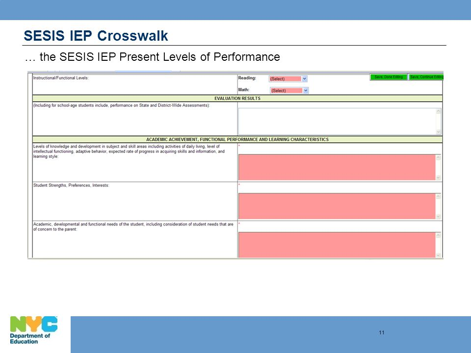 SESIS IEP Crosswalk … the SESIS IEP Present Levels of Performance 11