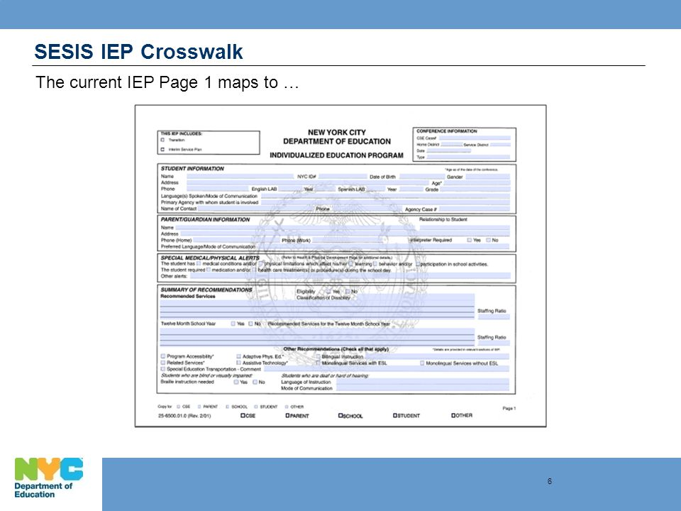 SESIS IEP Crosswalk The current IEP Page 1 maps to … 6