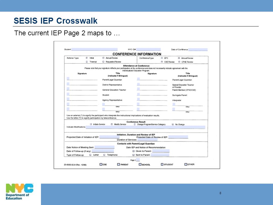 SESIS IEP Crosswalk The current IEP Page 2 maps to … 8
