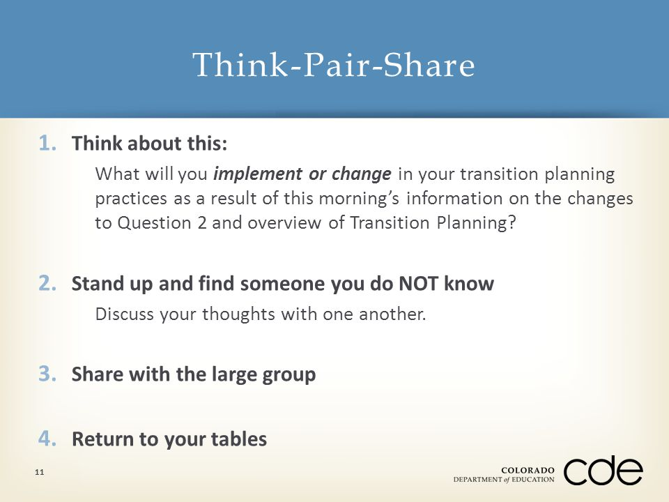 1. Think about this: What will you implement or change in your transition planning practices as a result of this morning's information on the changes