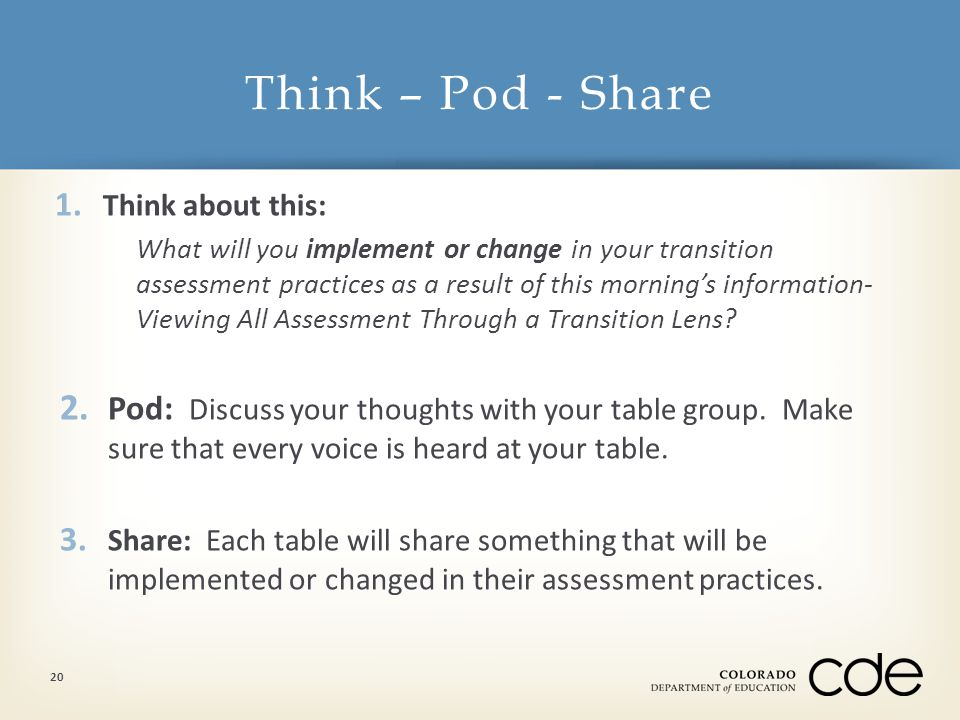 1. Think about this: What will you implement or change in your transition assessment practices as a result of this morning's information- Viewing All