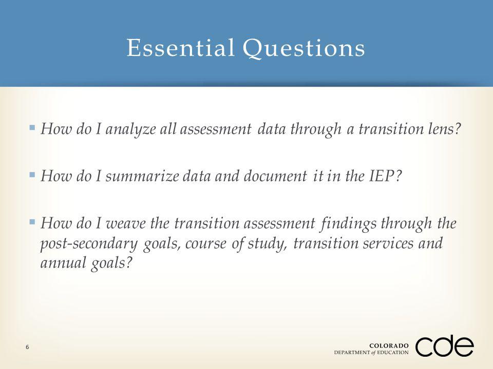 Essential Questions: How do I analyze data through a transition lens.